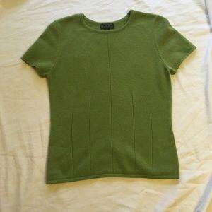 100% Cashmere Green Short Sleeve Sweater S EUC